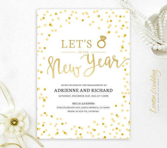 gold confetti new years eve engagement party invitation etsy