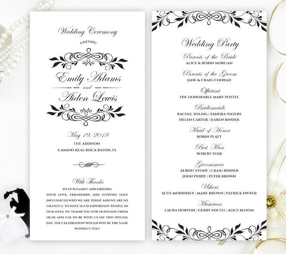 black and white wedding programs elegant programs for etsy
