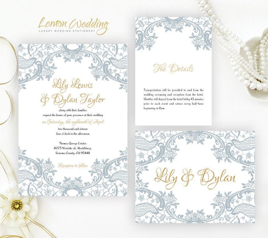 Dusty Blue Wedding Invitations Printed White Shimmer Cardstock
