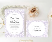 PRINTED    wedding invitations with RSVP postcards   Purple wedding invitations   Marriage invitations   Personalized