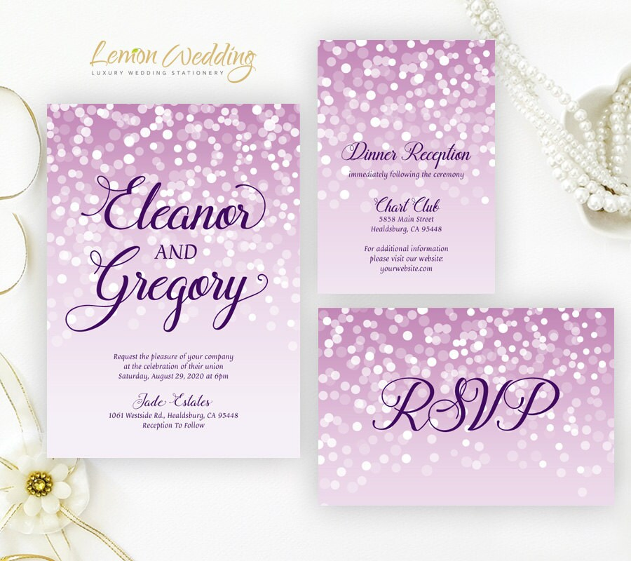Purple Wedding Invitations Printed On Shimmer Cardstock