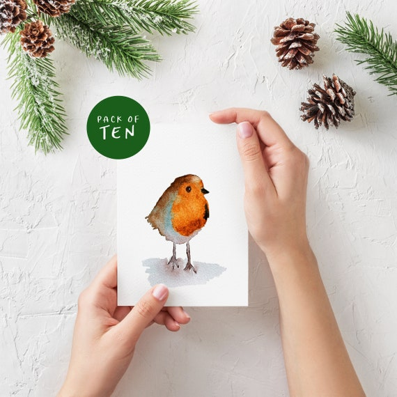 Christmas Cards | Robin Christmas Cards | Watercolour Christmas Card | Holiday Cards | Xmas | Greeting Cards | Christmas card packs of 10