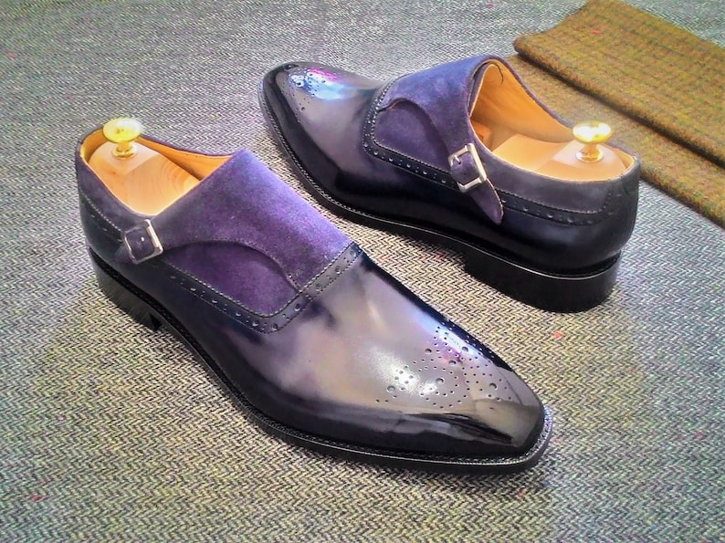 Hand made navy calfskin and navy suede leather monk strap shoe
