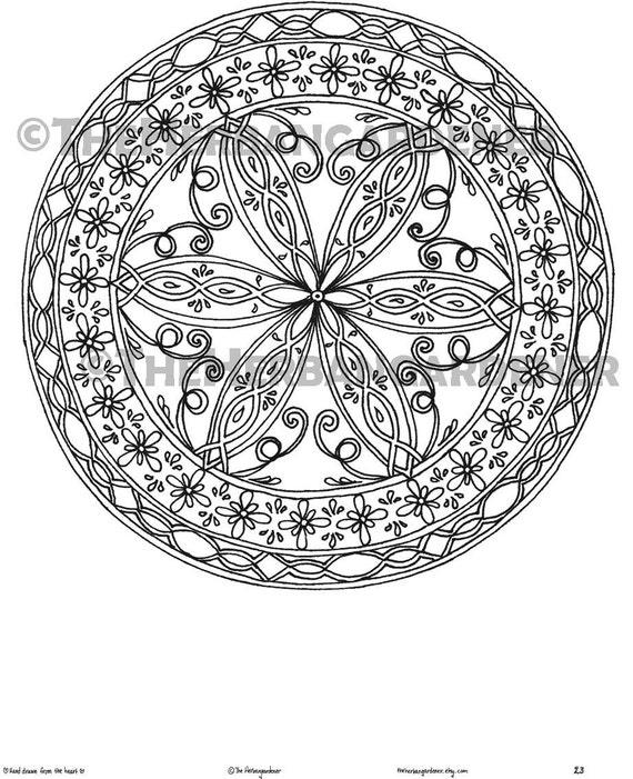 Descarga inmediata de página para colorear de Mandala 23 de   Etsy