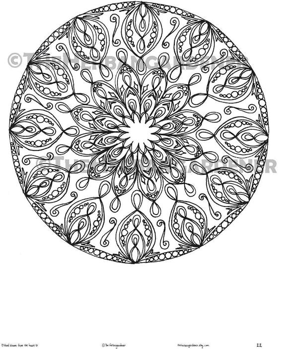 Descarga inmediata de página para colorear de Mandala 22 de | Etsy