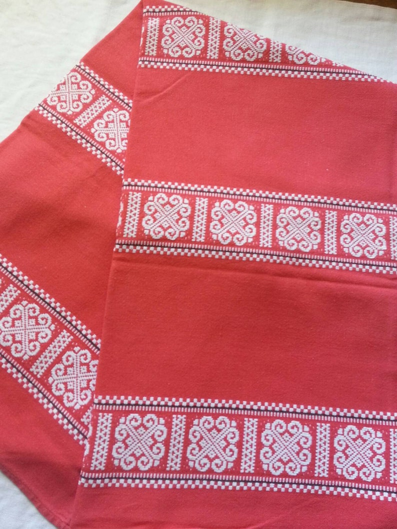 Christmas  Thanksgiving  valentines red tablecloth French linens vintage linens Red french vintage jaquard  tablecloth