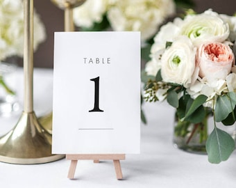Printable Table Number Cards - Woodland Minimalist Wedding Table Numbers Printable - Wedding Reception - Number 1 to 20 - (Item code: P487)