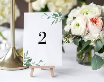 Printable Table Number Cards - Modern Botanical Table Signs- Wedding Table Numbers Printable- Wedding Reception- 1 to 20 - (Item code: P206)