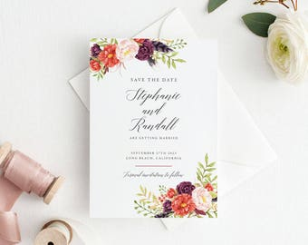Printable Save The Date Printable - Marsala Burgundy Wedding Save the Date Printable- Wedding Invites - Letter or A4 Size (Item code: P1044)