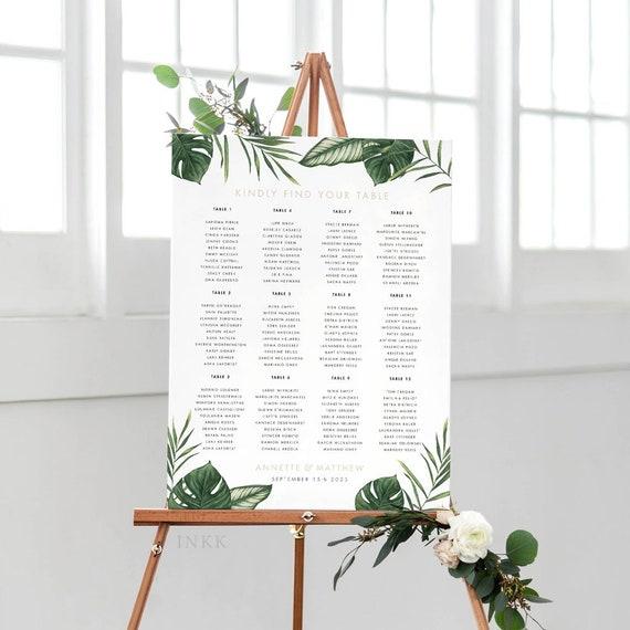 Modern Tropical Foliage Wedding Seat Chart Wedding Seating Chart Item code: P1123 Printable Seating Chart Poster Ready to Print PDF