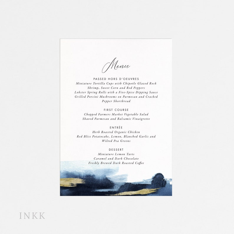 Modern Gold Dust Nautical Blue Printable Wedding Menu, Wedding Menu  Printable Download, Menu PDF, Letter or A4 Size (Item code: P1178)