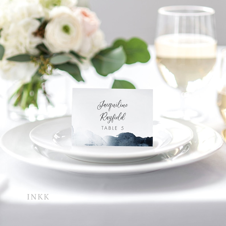 Modern Minimalist Nautical Blue Personalized Printable Wedding Place Cards Escort Cards Table Setting Placecards Item Code P1171