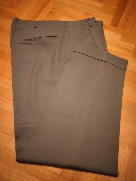 1950s gabardine rayon hollywood pants olive GREEN