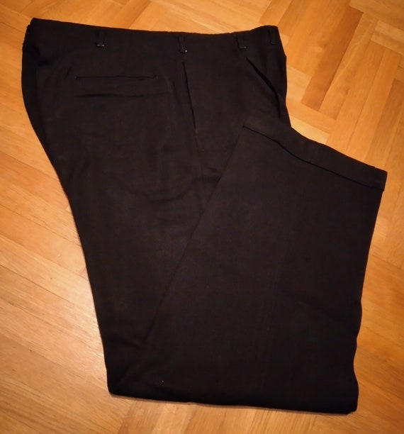 1950s gabardine rayon hollywood pants jet BLACK W3