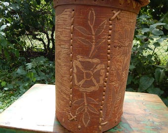 Vintage Birch Bark Lidded Container - First Nations Decorated Birch Bark