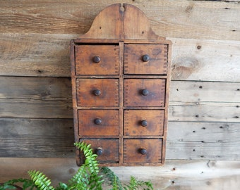 Antique Spice Cupboard - Hanging 1890s Spice Cabinet - 8 Drawer Spice Box