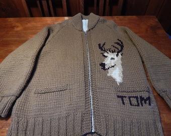 Vintage Men's Sweater - Hand Knit - Heavy Wool Outdoor Sweater - Vintage Sweater - Zip-Up Cardigan - Sweater Jacket