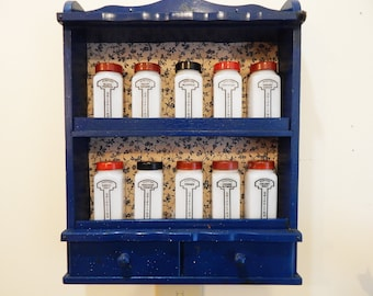 Vintage Spice Rack - Vintage Spice Jars - Vintage Spice Rack and Jars - Vintage Spice Rack Wood - Griffiths Spice Jars