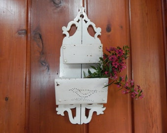 Antique Wall Shelf - 1880s Farmhouse Wall Pocket - Gingerbread Wall Shelf