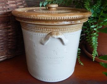 Antique Crock - Stoneware - Lid - Two Tone - Scotland - Farmhouse