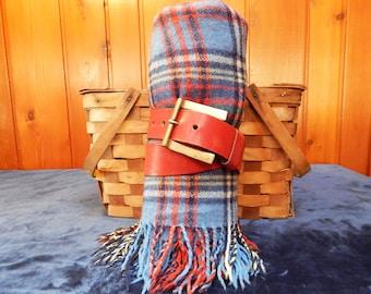 Vintage Plaid Wool Throw - Wool Travel Blanket - Plaid Picnic Blanket