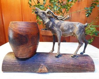 Vintage Elk Pencil Holder - Vintage Desk Accessories - Man Desk Decor - Wildlife Desk Decor - Gift for Hunter - Cigar Holder