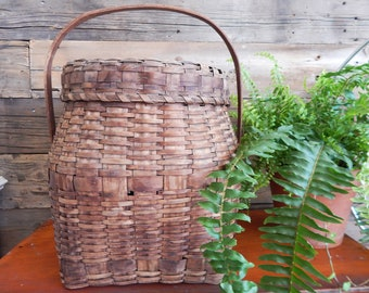 Antique Micmac Ash Splint Lidded Basket - Indigenous Covered Basket - First Nations Basket - Native American