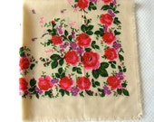 Vintage Ukrainian shawl, Russian shawl, Wool floral scarf, made in USSR, ivory shawl with red and purple flowers