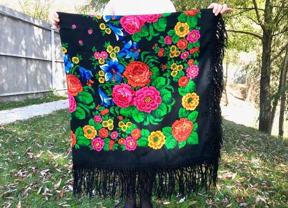 Black scarf Russian shawl Black shawl Ukrainian sh