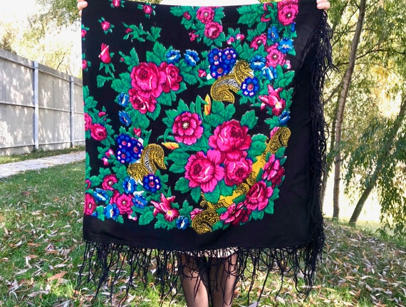 Russian shawl Russian scarf Large shawl Black wool