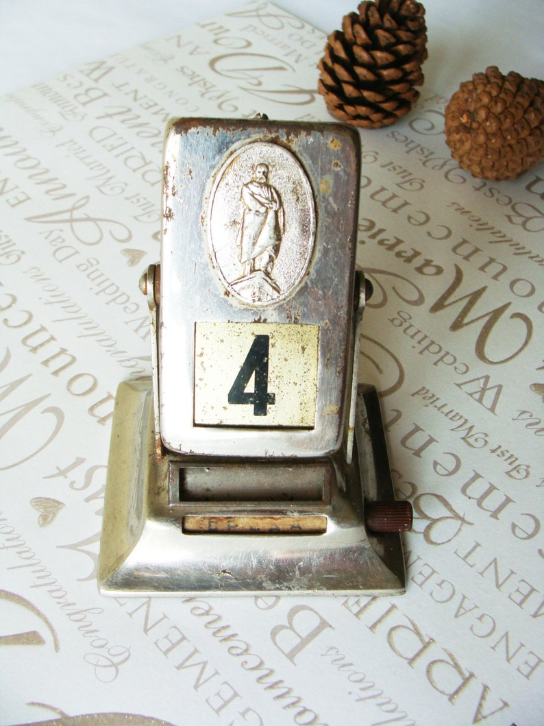 USSR the 1960s ~ Home Decor Vintage Soviet Perpetual Calendar~Reversable Desk Metal Calendar~Taras Shevchenko