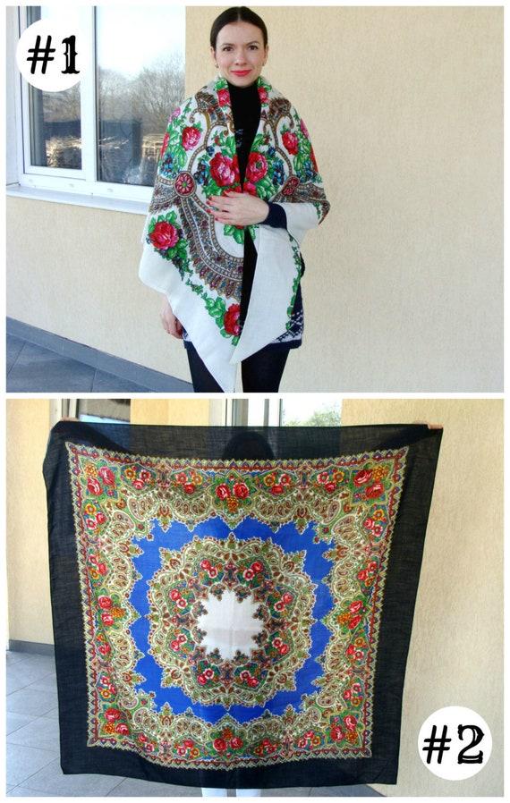 Wedding shawl-Vintage wool Russian floral shawl-Wh