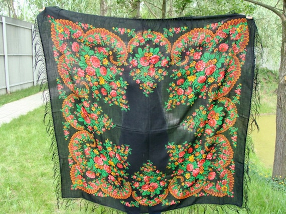 Black shawl Russian shawl Black scarf Ukrainian sh