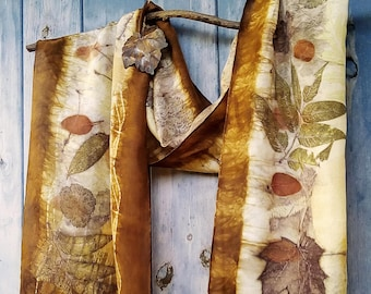 Eco dyed and  printed crepe de chine silk scarf Dark brown scarf Eco fashion
