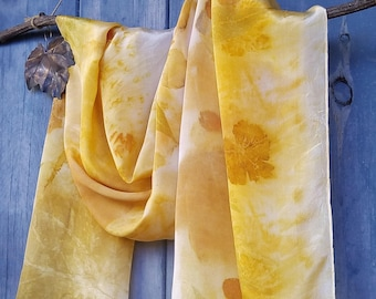 Eco printed crepe de chine silk scarf Ivory white scarf  Yellow scarf Various leaves Eco fashion