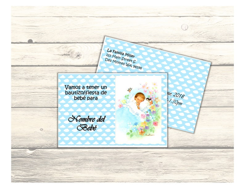 Printable Digital Download Baby Sleeping in Cloud BaptismBaby Shower Invitation Card Customizable in Spanish