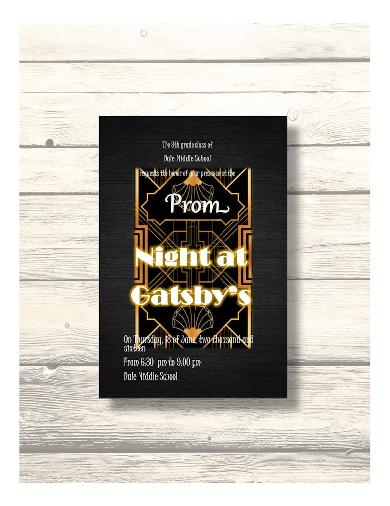 Night at Gatsby's - School Dance/Prom Invitation/Homecoming/Card  Customizable - Printable Digital Download