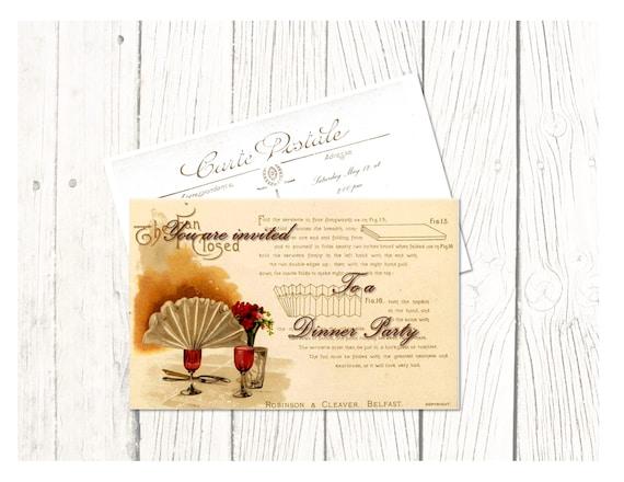 Invitacion Para Almuerzo Cena O Merienda Antigua Digital Imprimible