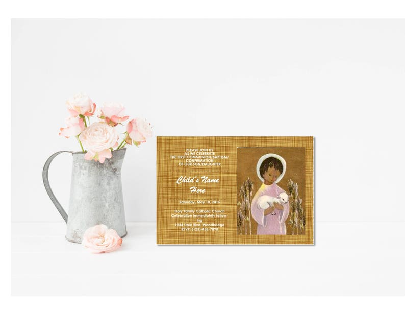 graphic regarding First Communion Cards Printable identified as Initial Communion/Affirmation Invitation Card Classic \