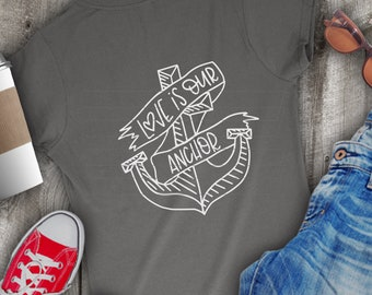 Anchor, Svg, Nautical Wedding, Wedding Shirt, Love Shirt, Hand Lettered, Hand Drawn, Anchor Art, Word Art, Forever and Always, DXF, Eps, PNG