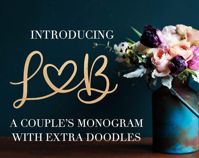 Couple's Monogram Font - Intials - Romantic Font - Valentine Font - Wedding Font - Hand Lettered - Type - Cricut - Silhouette - Craft Font