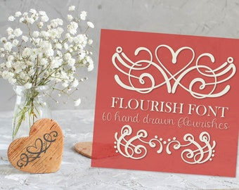 Flourish Font - Heart Swoosh Ornament Symbol Dingbat Font - Hand Drawn - Fonts - Digital - Fonts - Drawing - Valentine's