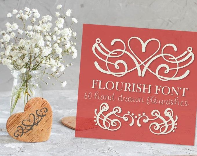 Flourish Font - Heart Swoosh Ornament Symbol Dingbat Font - Hand Drawn - Fonts - Digital - Fonts - Drawing - Valentine's