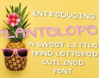 Plantelope, outlined, Font, Hand Written, Hand Lettered, Simple, Sans Serif, Font Bundle, Discount, Typeface, Cutting, Silhouette, Cricut