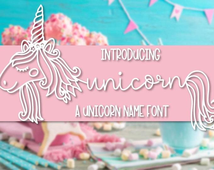 Unicorns -  A Unicorn Name Font - Hand Lettered Hand Drawn Font - Unicorn Maker Horn Kit - Type - Craft Font - Cricut Font SIlhouette