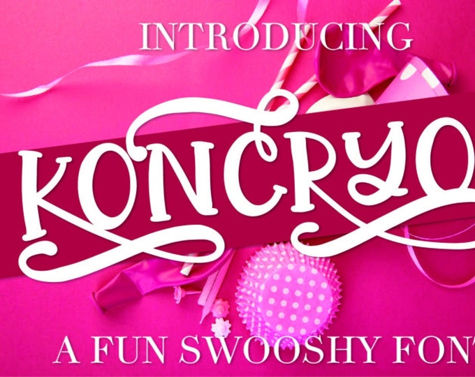 Koncryo - A Fun Swooshy Font With Fun Alternatives - Includes OTF TTF  The capital letters of this font each have 2 alternatives