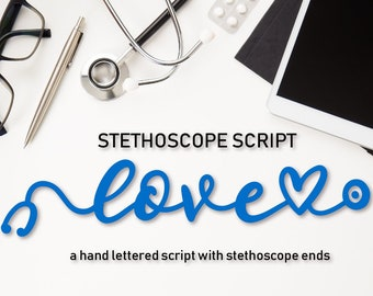 Nurse Font with Stethoscope Ends CNA RNA Doctor Vet Stethoscope Font Monogram Nursing Cut File Cricut Silhouette Script Cursive Nurse Life
