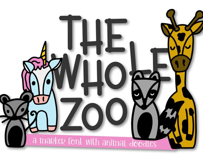 The Whole Zoo, Marker, Font, Animal, Dingbat, Ornament, Symbol, Commercial, Cricut, Silhouette, Unicorn, Raccoon, Fox, Typeface, Graphics
