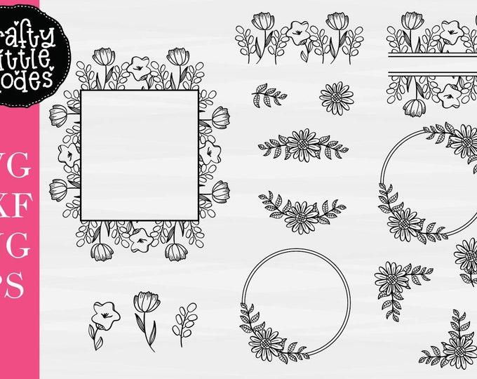 Floral Monogram Frame - Split Monogram Flowers - Wedding SVG - Sunflower - Sign Svg - Sign Making - Cut Files - Hand Drawn - Cricut