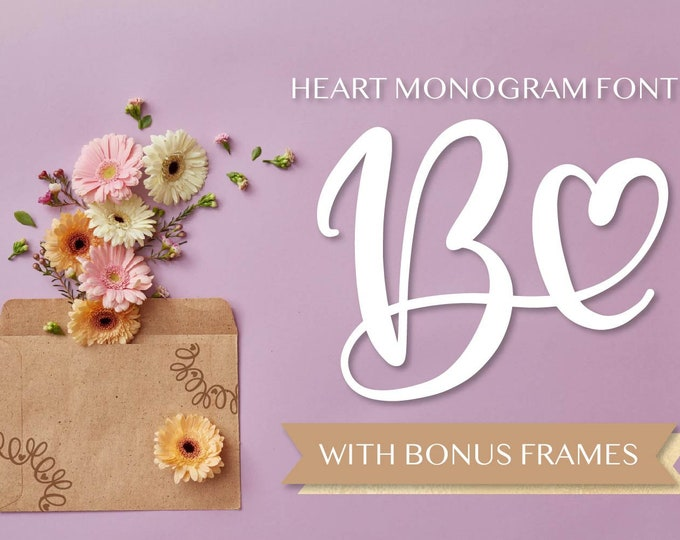 Heart Monogram Font Hand Lettered Monogram With Hearts Version 2 Hand Written Cricut Silhouette fonts Smooth Craft Font Wedding Romantic